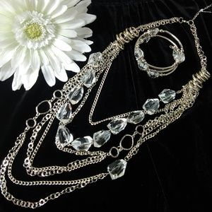 Jewelry - NWOT Multi chain silvertone necklace & bracelet